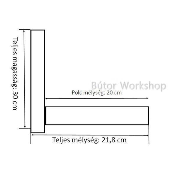 Vastag polc falvédővel 20 cm mély